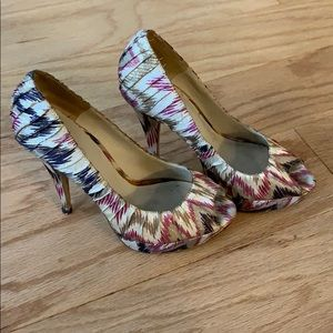 Fabric purple, pink and gold open toe platforms
